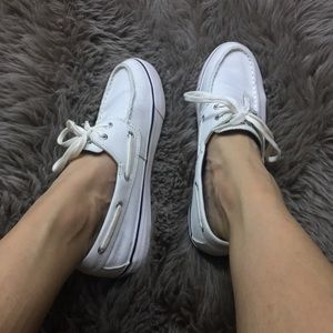 White Sperrys top sider shoes